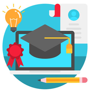 laptop with graduation cap, diploma, pencil and light bulb