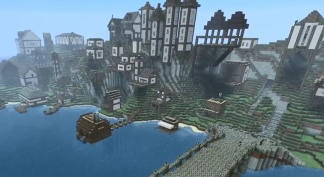 A sample human-created Minecraft settlement