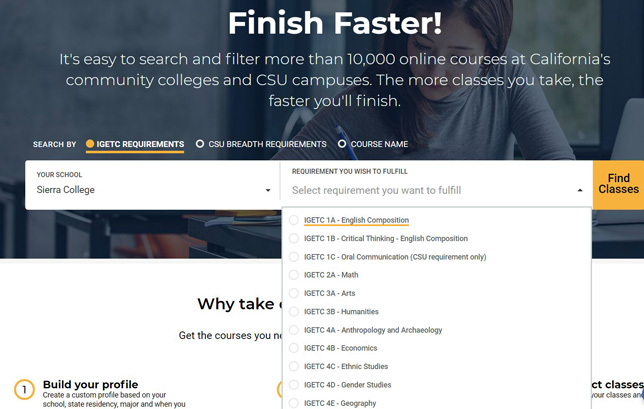 The Online Education Initiative's Finish Faster online course finder