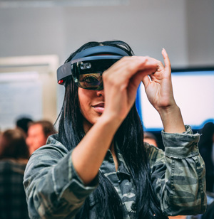 fashion student wearing augmented reality goggles