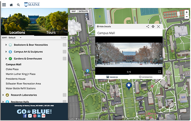 University of Maine interactive campus map