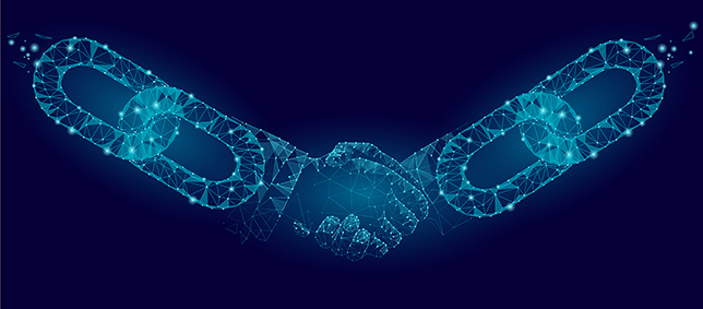 blockchain links shaking hands