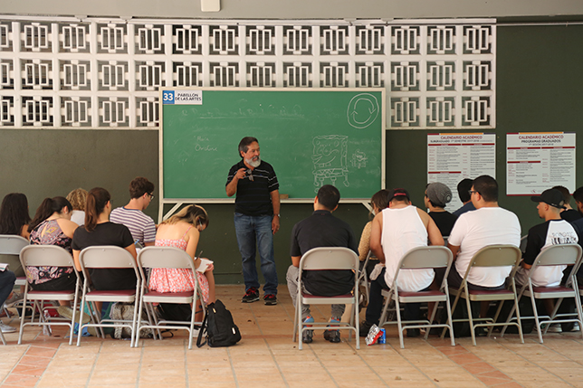 After Hurricane Maria, Universidad del Sagrado Corazón turned every available space into classrooms, including porches, terraces, porticos, open spaces and hallways.