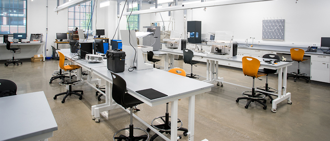 Among the labs in the Endeavor building is the Blair H. Stone Manufacturing Lab, which houses equipment for both additive and subtractive manufacturing processes, including advanced 3D printing of composites and metals.