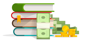 Books stack with pile of cash and coins