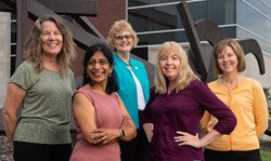 Research team members (front L-R) Chaya Gopalan, Sharon Locke, (back L-R) Georgia Bracey, Julie Fickas and Lynn Bartels
