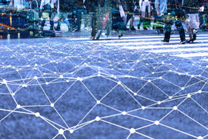 Walking crowd and mesh communication network concept