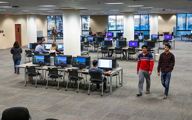University of Louisiana Monroe Library's lab and study space