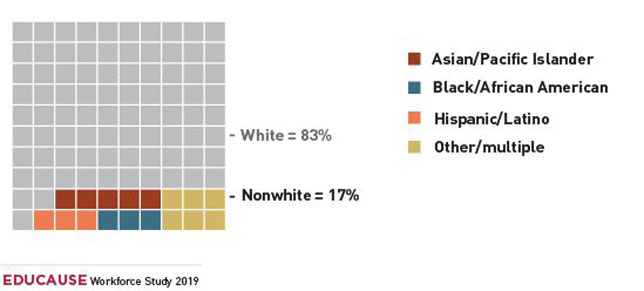 Breakdown of higher ed IT professionals by ethnicity