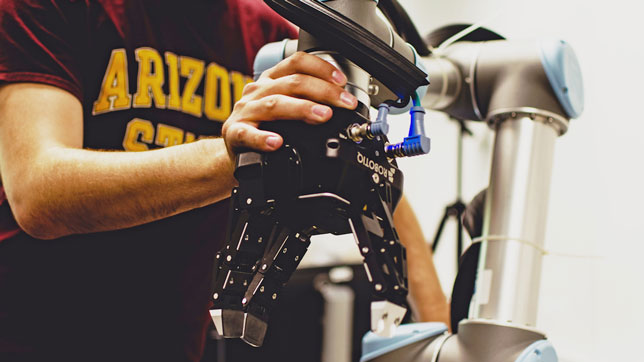Arizona State students exploring human-robot interaction