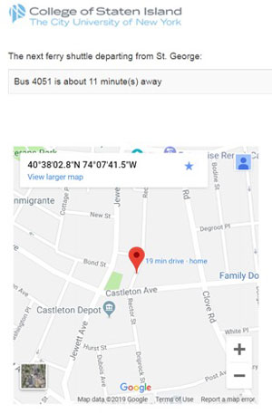 Web Display of Shuttle Bus Information