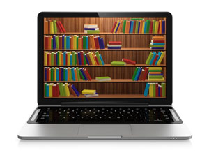 shelves of books on laptop screen