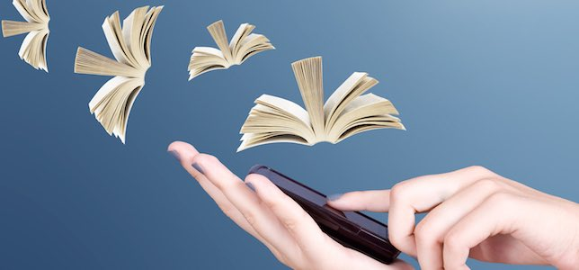 books flying out of mobile device