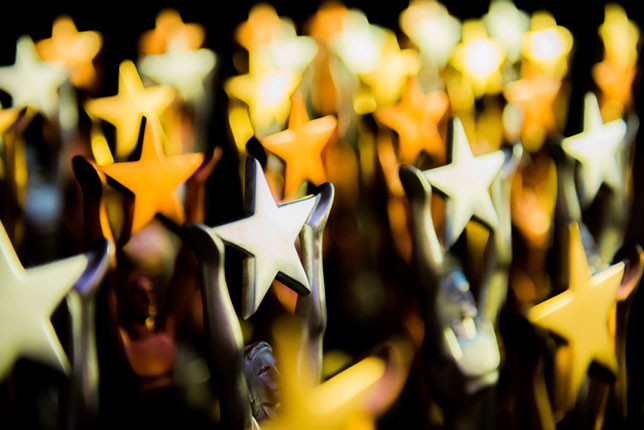 row of star shaped trophies
