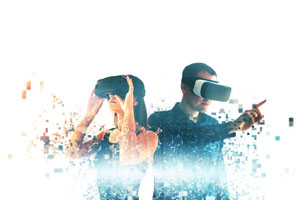 woman and man wearing virtual reality headsets