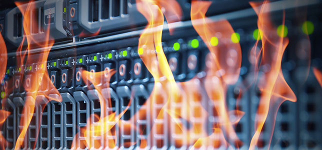 server hardware on fire