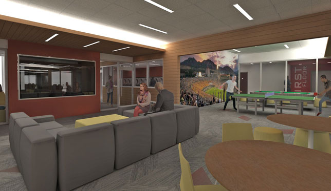 A rendering of the gaming space at the University of Colorado Boulder Williams Village East residence hall