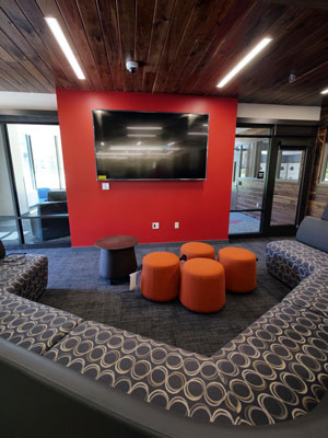 The gaming area at the University of Colorado Boulder's new Williams Village East residence hall