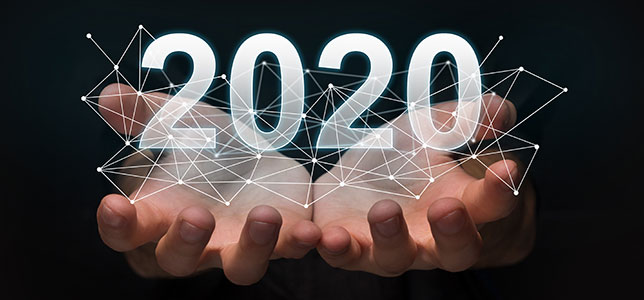 Luminous 2020 year numbers and network above man's hands at black background.