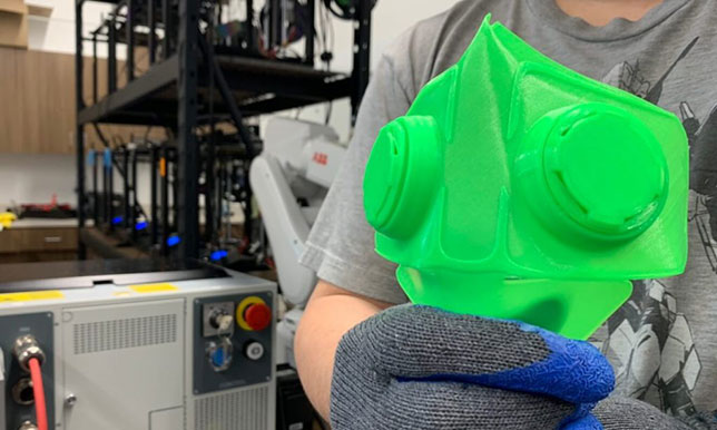 A version of the N95 respirator mask prototypes being printed at Concordia University Wisconsin