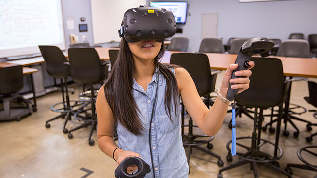 San Diego State University student using virtual reality headset
