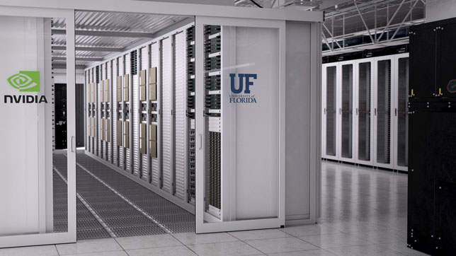 An artist's rendering of University of Florida's new AI supercomputer based on NVIDIA's DGX SuperPOD architecture