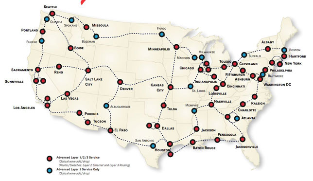 The Internet2 network infrastructure topology, as of October 2020