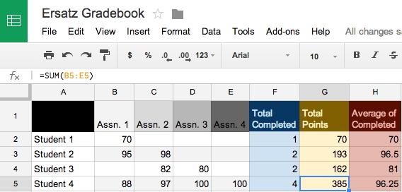 divide example in google sheets