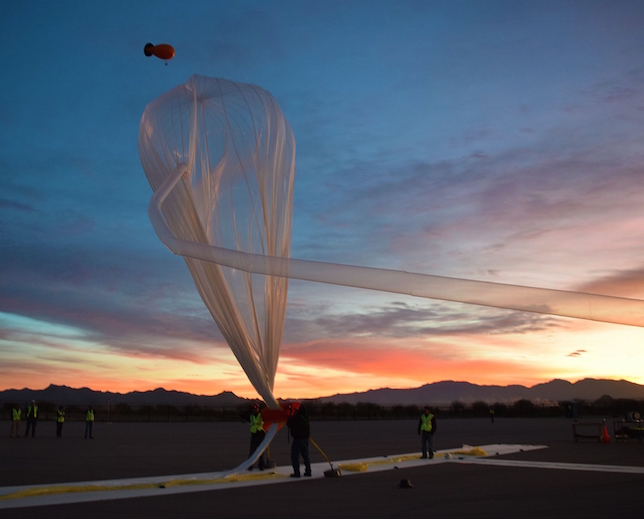 Experiments designed by students were launched Feb. 19 from Arizona and reached 102,200 feet. (Photo courtesy of World View).