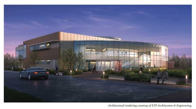 An architect's rendering of the new Bryant U academic innovation center.