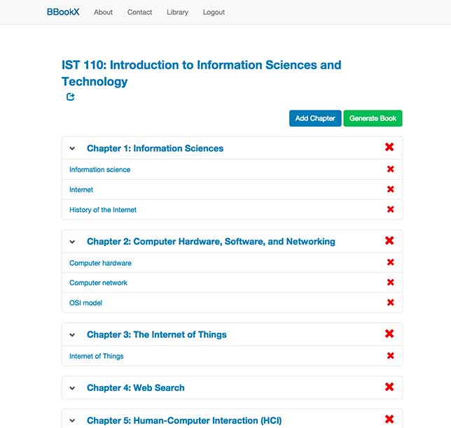 BbookX OER textbook creation tool: A textbook with multiple chapters ready to be shared.