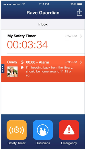 Rave lets users set a safety timer that will notify friends or family members designated as
