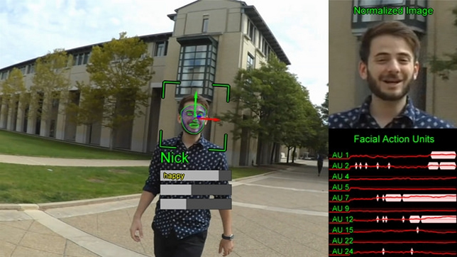 A separate function under development performs facial recognition to help the user identify who is approaching, friends or strangers, and what kinds of expressions they're showing.