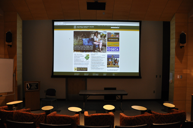 Scottsdale Community College's new screening room includes 9.1 surround sound system, a large format display, and a Sony VPL-FHZ55 professional-grade laser projector.