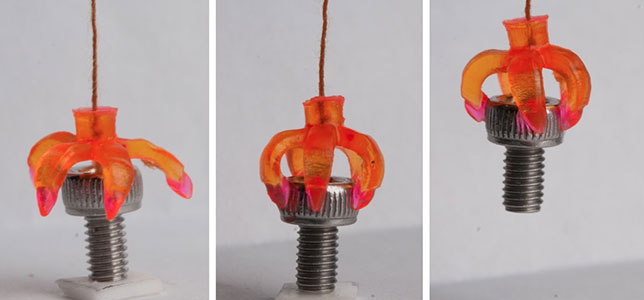 A 4D-printed gripper grabs an object when the temperature is optimal. Photo courtesy of Qi (Kevin) Ge.