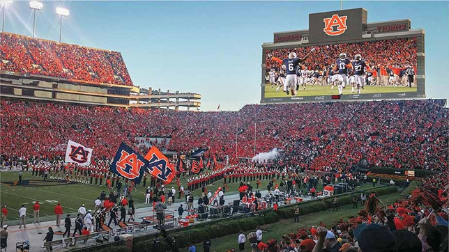 Auburn U's new video display runs 197 feet wide by 57 feet high and uses 8.7 million LEDs.