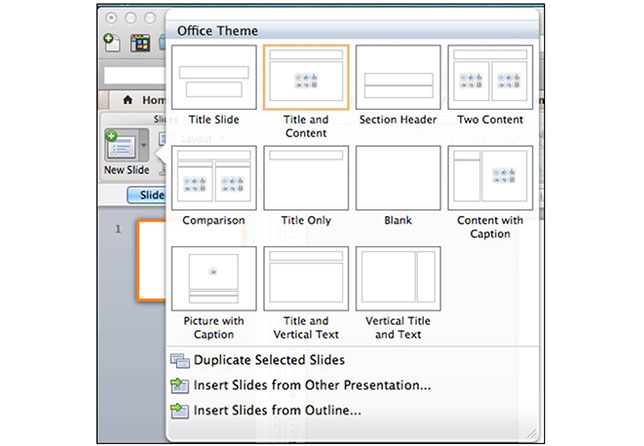 Microsoft PowerPoint 2011 slide layout options