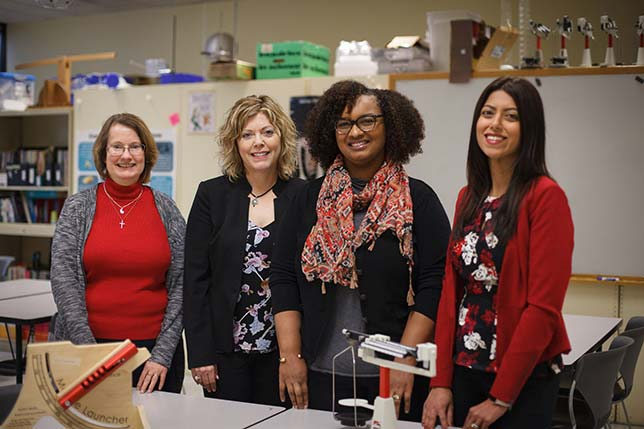 From left to right, Jennifer Chauvot, chair, Department of Curriculum and Instruction; Paige Evans, clinical professor, teachHOUSTON; Leah McAlister-Shields, teachHOUSTON academic program manager; and Mariam Manuel, instructional assistant professor, teachHOUSTON. Source: University of Houston