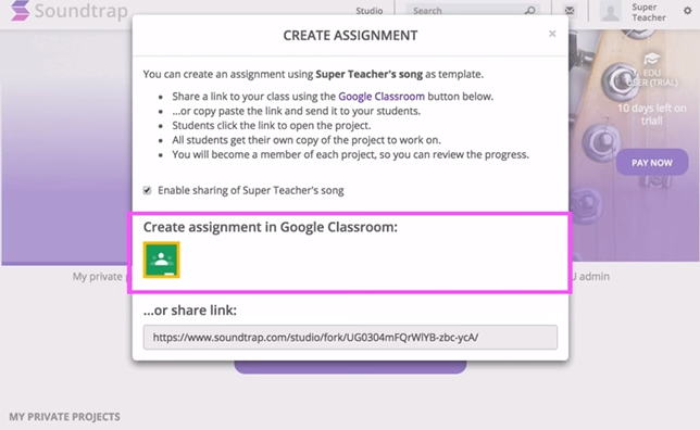 Soundtrap for Education allows teachers to set up assignments in Google Classroom.