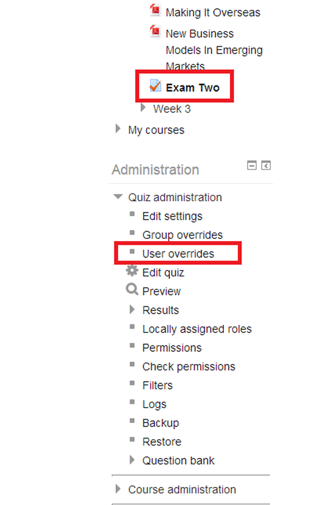 Within Moodle, the key to any quiz customization is the User override option beneath Quiz administration.