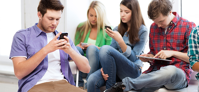 students on cell phones