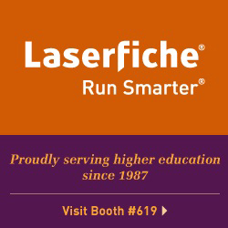 Laserfiche, Run Smarter. Proudly serving higher education since 1987. Visit us in booth #619.