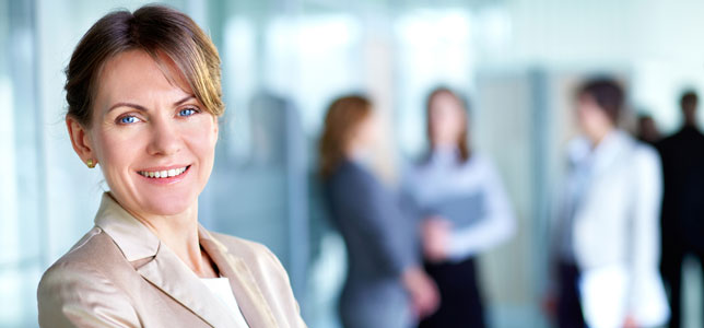 smiling female business leader