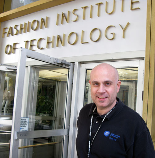 Marcus in front of entrance to Fashion Institute of Technology