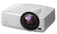 The Mitsubishi WD380U-EST DLP projector sports a throw ratio of 0.375 and supports display over LAN and USB.