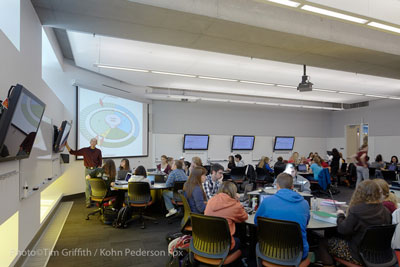 Active Learning Classrooms at the University of Minnesota are used for courses covering a wide range of subjects, including engineering, humanities, and social sciences.