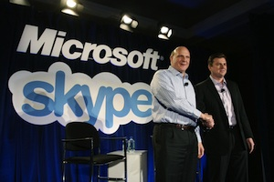 Microsoft CEO Steve Ballmer and Skype CEO Tony Bates at the San Francisco announcement of Microsofts acquisition of Skype. Source: Microsoft.