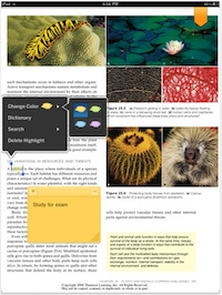 Kno Textbooks for iPad supports highlighting and note-taking.