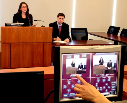 Villanova University School of Laws lecture capture control system in action.