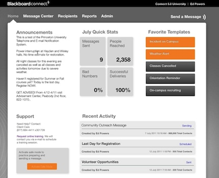 Blackboard Connect 5.0 lets administrators view historic data, such as message delivery statistics.